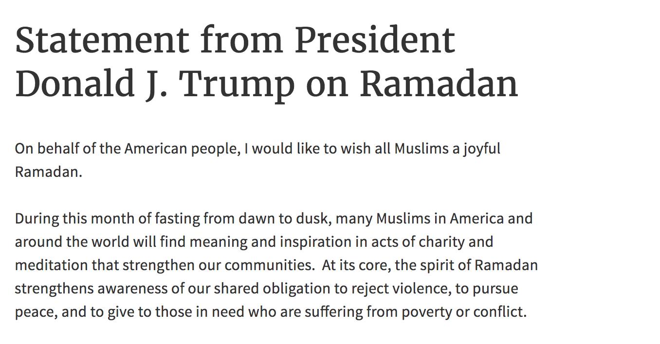 Trump, Ramazan mesajı yayınladı