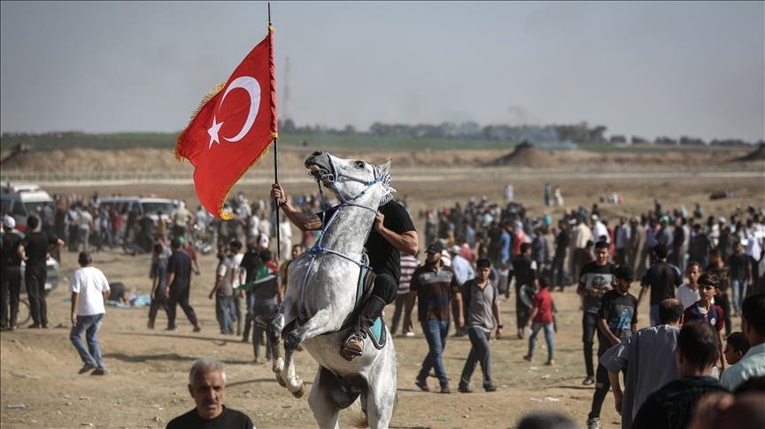 Gazze 'Milyonluk Kudüs' gösterisinde Türk bayrağı
