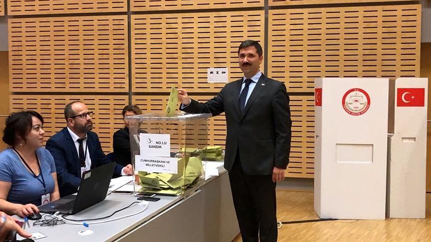 Türkler oy kullanırken