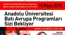 Anadolu Üniversitesi, Batı Avrupa Programları Öğrenci Seçme Sınavı Başvuruları Başladı.
